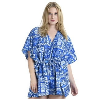 La Leela 2-in-1 Women's Blue Perfect Beach Bikini Swimsuit Plus Size Cover-up/ Smooth Likre Kaftan Short Dress