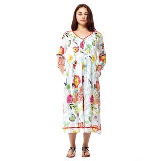 La Cera Women's Multicolored Cotton 3/4-sleeve Mid-length Dress