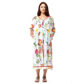 La Cera Women's Multicolored Cotton 3/4-sleeve Mid-length Dress (4 options available)