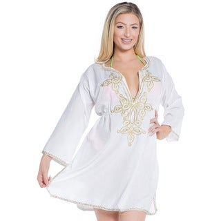 La Leela SOFT Rayon Bikini Cover up Swimwear Beach Swimsuit Women Dress Beige