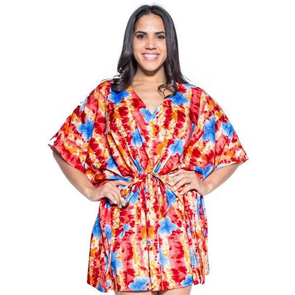 d881d673964ea Shop La Leela Women s Red Silk 2-in-1 Hibiscus Robe Soft Likre ...