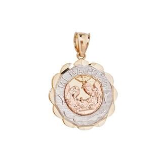 Decadence 14k Gold Tri-color Mi Bautizo Round Tag Charm Pendant