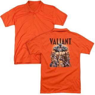Valiant/Pyramid Group (Back Print) Mens Regular Fit Polo in Orange