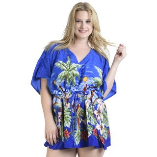 La Leela SMOOTH Likre Beach Bikini Cover up Kaftan Dress Women Tunic Cap Indigo