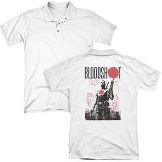 Bloodshot/Death By Tech (Back Print) Mens Regular Fit Polo in White