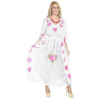La Leela Rayon Hand Paint Kaftan Women Beach Night gown Kimono Cover up Pink