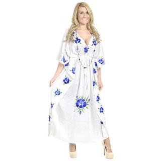 La Leela Rayon Hand Paint Kaftan Women Beach Night gown Kimono Cover up Blue