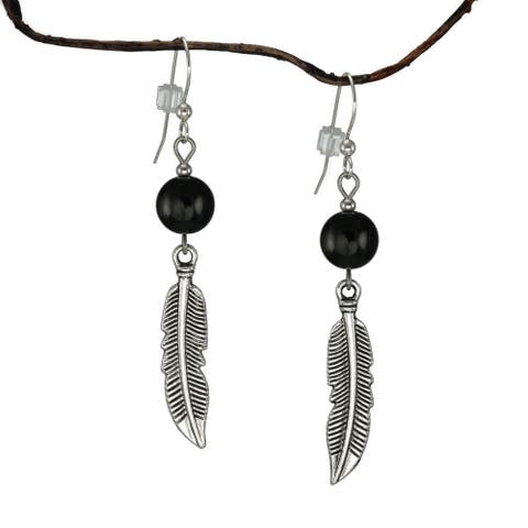 Handmade Jewelry by Dawn Black With Curved Pewter Feather Earrings (USA)