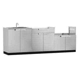 NewAge Products Aluminum/Stainless Steel 97-inch x 24-inch 3-piece Outdoor Kitchen Storage