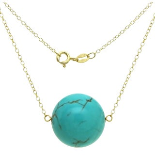 DaVonna 18k Gold over Silver Cable Chain Necklace wit 18mm Simulated Turquoise Round Gemstone as Pendant Necklace, 18""