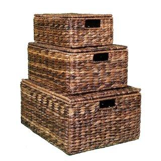 BirdRock Home Espresso Rattan Seagrass Nesting Baskets