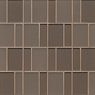 Brick Pattern Gloss Ash Glass Tile (Box Of 10 Sheets)