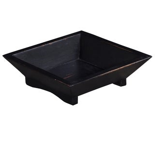 Bramble Co. Square Black Heavy Distressed Mahogany Fruit Tray