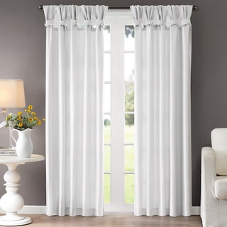 """Madison Park Natalie Twisted Tab 50x95"""" Curtain Panel in White (As Is Item)"""