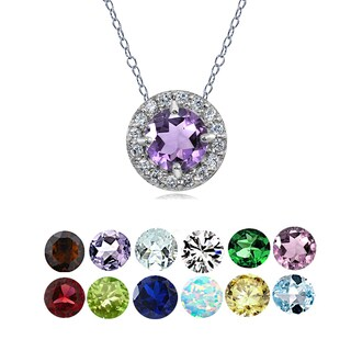 Glitzy Rocks Sterling Silver Gemstone and White Topaz Birthstone Round Halo Necklace