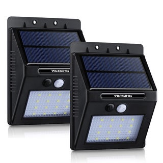 Solar-powered Black Outdoor Motion Sensor Garden Light (Pack of 2)