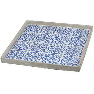 Winston Blue and White Wood 16-inch x 16-inch Large Square Decorative Tray
