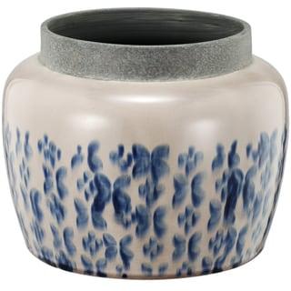 Cascade White/Blue Ceramic 9-inch x 7-inch Tall Round Planter