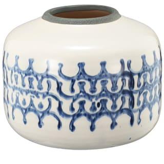 Medium 9-inch x 7-inch Sumarr Pot White Blue Ceramic