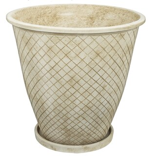 Rhombi Off-white Cement 14-inch x 14-inch Small Planter