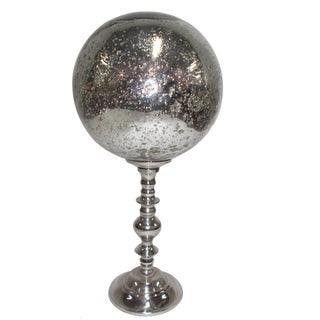 Silver Aluminum Decorative Orb With Stand