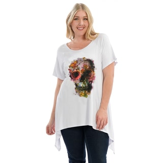 Women's Plus Size Floral Skull Sidetail Tee