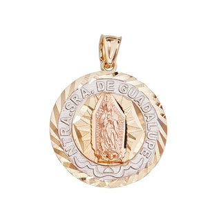 14k Tri-color Gold Diamond-cut Virgin Mary Round Tag Charm Pendant
