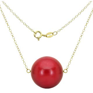 DaVonna 18k Gold over Silver Cable Chain Necklace wit 18mm Red Coral Round Gemstone as Pendant Necklace, 18"