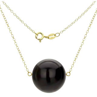 DaVonna 18k Gold over Silver Cable Chain Necklace wit 18mm ONYX Round Gemstone as Pendant Necklace|https://ak1.ostkcdn.com/images/products/11982032/P18863353.jpg?impolicy=medium