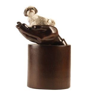 Companion Brown Resin Pet Urn with Shih Tzu