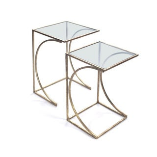 Miranda Glass/Steel Hip Vintage Nesting Tables (Set of 2)