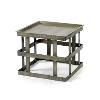 Hip Vintage Silver Steel Banded Occasional Table