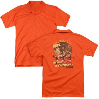 Labyrinth/Head Don't Come Off (Back Print) Mens Regular Fit Polo in Orange