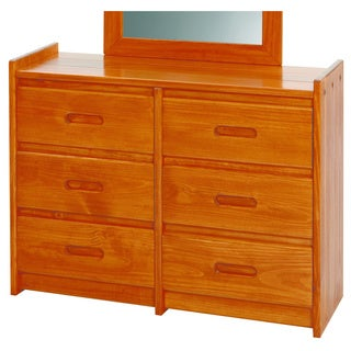 Heartland Collection Honey Pine Wood 6-drawer Dresser