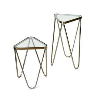 Kingsley Glass/Steel Hip Vintage Tables (Set of 2)