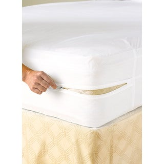 White Vinyl Waterproof Zippered Mattress Cover