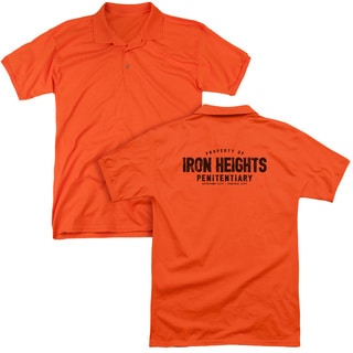 JLA/Iron Heights (Back Print) Mens Regular Fit Polo in Orange