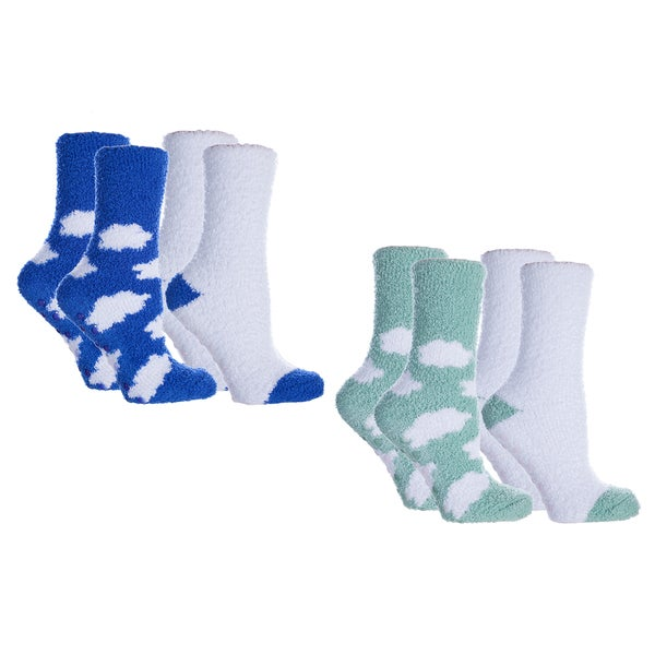 ee8166b756 MinxNY Cloud Pattern Lavender-infused Chenille Socks (4 pairs). Click to  Zoom