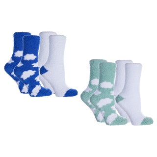 MinxNY Cloud Pattern Lavender-infused Chenille Socks (4 pairs)
