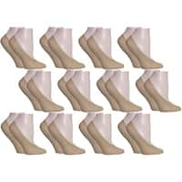 Vintage Home MinxNY Tan Spandex/Nylon Ped Socks (Pack of 12 Pairs)