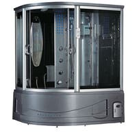 Siena Black Acrylic, Glass, Stainless Steel Steam Shower Sauna With Whirlpool Massage Bathtub