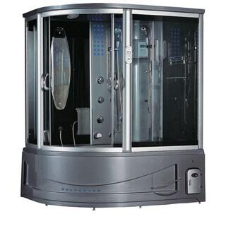 Siena Black Acrylic, Glass, Stainless Steel Steam Shower Sauna With Whirlpool Massage Bathtub
