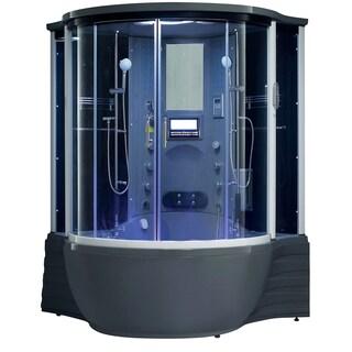 Florence Acrylic/Glass/Stainless Steel Steam Shower Sauna with Whirlpool Massage Bathtub