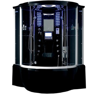 Florence Acrylic/Glass/Stainless Steel Steam Shower Sauna with Whirlpool Massage Bathtub (Option: Black)