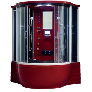 Florence Acrylic/Glass/Stainless Steel Steam Shower Sauna with Whirlpool Massage Bathtub