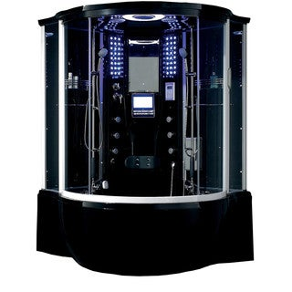 Florence Acrylic/Glass/Stainless Steel Steam Shower Sauna with Jacuzzi Whirlpool Massage Bathtub