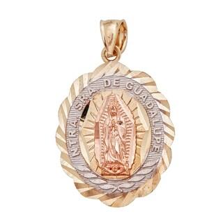 14k Tri-color Gold Diamond Cut Virgin Mary Oval Tag Charm Pendant