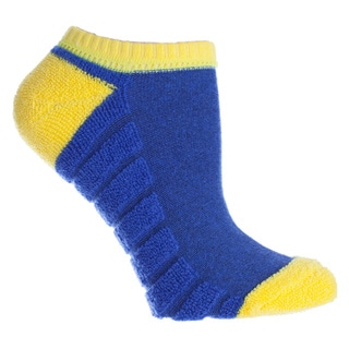 MINXNY Blue/Yellow Cotton/Polyester/Spandex Reverse Terry Anklet Socks (Pack of 3 Pairs)