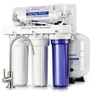 iSpring RCC7P 5-stage 75-GPD Reverse Osmosis Water Filtration System With Booster Pump and Brushed Nickel Faucet