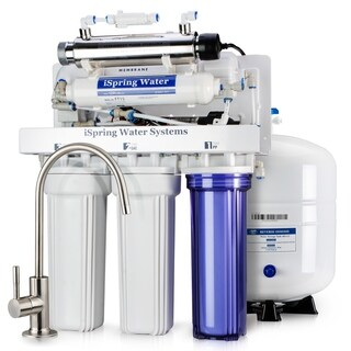 iSpring RCC1UP 6-stage 100GPD Reverse Osmosis Water Filtration System with Booster Pump